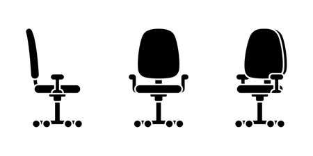 Isolated small office chair vector illustration icon pictogram set. Front, side view silhouette on white Stock Illustratie