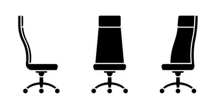 Isolated modern office chair vector illustration icon pictogram set. Front, side view silhouette on white