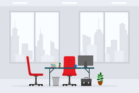 Design of modern empty business office working place front view vector illustration. Flat style table, desk, red chair, computer, desktop, briefcase, trash bin isolated on cityscape background