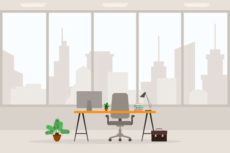 Design of modern empty office working place front view vector illustration. Flat style table, desk, light gray chair, computer, desktop, plant, lamp, trash bin isolated on cityscape background