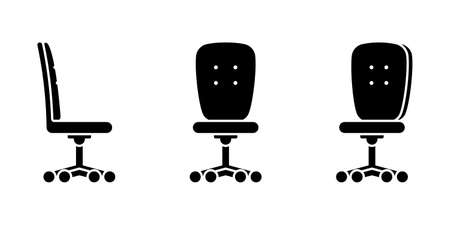 Isolated office chair vector illustration icon pictogram set. Front, side view seat silhouette on white