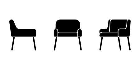 Isolated soft office chair vector illustration icon pictogram set. Front, side view silhouette on white
