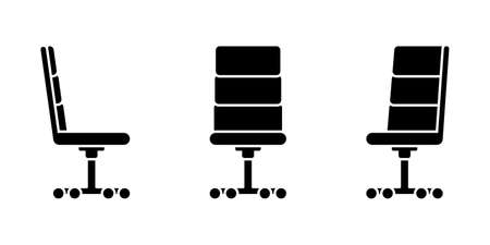 Isolated comfortable office chair vector illustration icon pictogram set. Front, side view silhouette on white