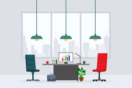 Design of modern empty office working place front view vector illustration. Flat style table, desk, chair, computer, desktop, plant, lamp, briefcase isolated on cityscape background