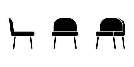 Isolated simple office chair vector illustration icon pictogram set. Front, side view silhouette on white