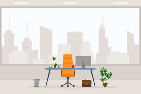 Design of modern empty office working place front view vector illustration. Flat style table, desk, orange chair, computer, desktop, lamp, trash bin isolated on cityscape background Stock Illustratie