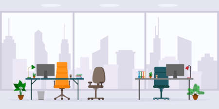 Design of empty office work place front view vector illustration. Flat style table, desk, chair, computer, desktop, window isolated on cityscape background