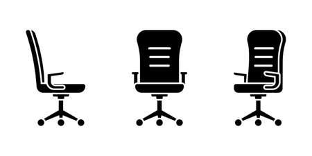 Isolated rolling office chair vector illustration icon pictogram set. Front, side view silhouette on white Stock Illustratie