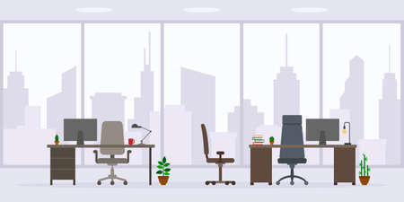 Design of empty office work place front view vector illustration. Flat style table, desk, chair, computer, desktop, big window isolated on cityscape background Illustration