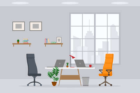 Design of modern empty office working place front view vector illustration. Flat style table, desk, chair, computer, desktop, plant, lamp, laptop isolated on cityscape background 矢量图像