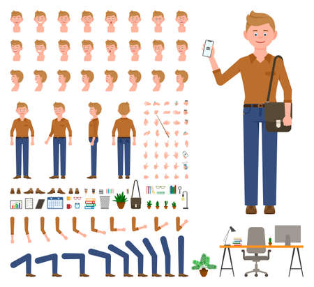 Young office cartoon character man front, side, back view flat style design vector creation set. Male person wearing jeans, body parts, face emotions, haircut, gestures infographic illustration kit
