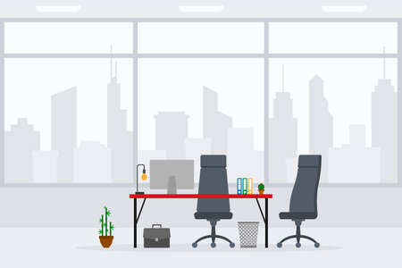 Design of modern empty office working place front, side view vector illustration. Flat style table, desk, gray chair, computer, desktop, plant, trash bin isolated on cityscape background