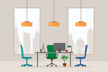 Design of modern empty office working place front view vector illustration. Flat style table, desk, green chair, computer, desktop, plant, lamp isolated on cityscape background