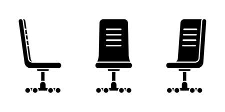Isolated comfy office chair vector illustration icon pictogram set. Front, side view silhouette on white
