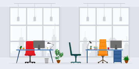 Design of modern empty office working place front view vector illustration. Flat style table, desk, chair, computer, desktop, plant, lamp isolated on skyscraper background