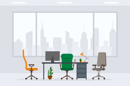 Design of modern empty office working place front view vector illustration. Flat style table, desk, chair, computer, desktop, plant, lamp, cactus isolated on cityscape background Stock Illustratie