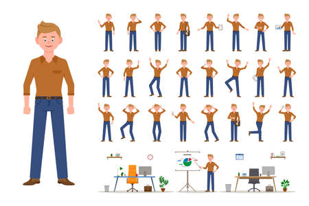 Adult office cartoon character man in jeans standing front view flat style design vector illustration set. Male person wearing jeans, body poses, face emotions, desk, chair office interior infographic kit Illustration