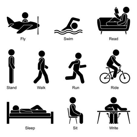 Young active cut out stick figure man flying, swimming, reading, standing, walking, going, running, riding, sleeping, sitting, writing vector illustration pictogram set on white background