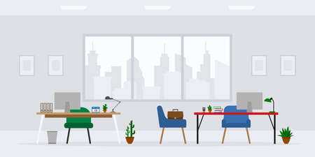 Design of modern empty office work place front view vector illustration. Cartoon table, desk, chair, computer, building, desktop, lamp, cactus isolated on cityscape background