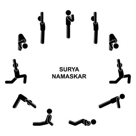 Stick figure man sequence poses of sun salutation surya namaskar vector illustration icon set. Illustration