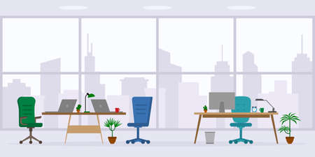 Design of empty office work place front view vector illustration. Flat style table, desk, chair, computer, desktop, window isolated on skyscraper background