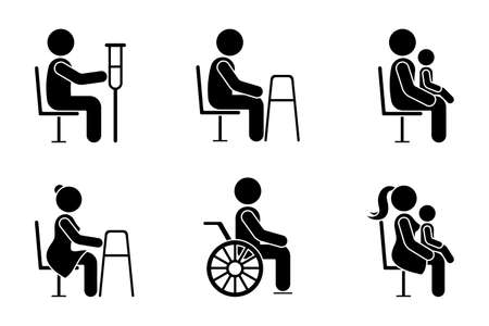 Stick figure bus sign man with crutches, people with walkers, parents with baby on knees vector icon illustration set. Give seat symbol good manners etiquette priority access silhouette pictogram on white