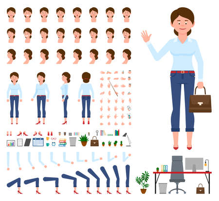 Young office cartoon character woman front, side, back view flat style design vector creation set. Female person wearing jeans, body parts, face emotions, haircut, gestures infographic illustration kit