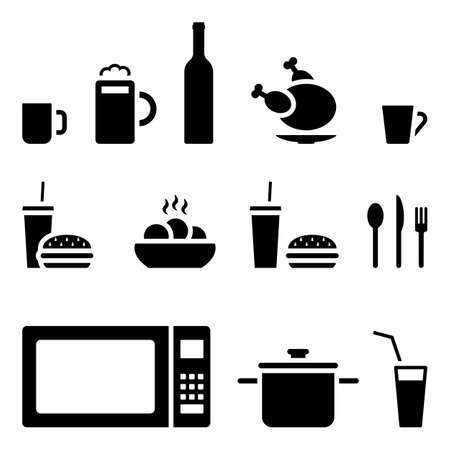 Cup of tea, glass of beer, bottle of wine, grilled chicken, paper glass of soda and burger, hot pie, spoon, fork, knife, microwave, pan icon vector illustration set on white Illustration