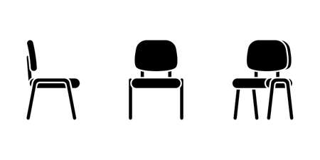 Isolated flat style office chair vector illustration icon pictogram set. Front, side view silhouette on white