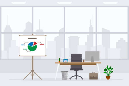 Design of modern empty office working place front view vector illustration. Flat style table, desk, graphite chair, computer, desktop, plant, flipchart isolated on cityscape background