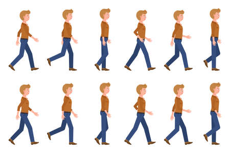Young, adult man in jeans walking sequence poses vector illustration. Moving forward, fast, slow going person cartoon character set on white