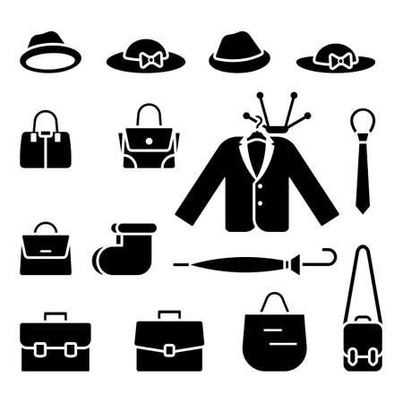 Hat, cap, bag, briefcase, jacket, blazer, tie, boots, umbrella icon vector illustration set on white