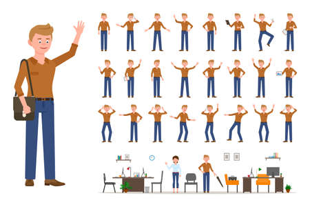 Adult office cartoon character man in casual clothes waving hand up flat style design vector illustration set. Male person wearing jeans, body poses, face emotions, desk, chair office interior infographic kit