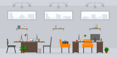 Design of modern empty office work place front view vector illustration. Cartoon table, desk, chair, computer, building, desktop, lamp, plant isolated on cityscape background Illustration
