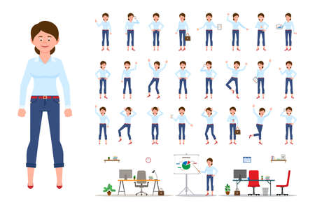 Adult office cartoon character woman in casual clothes standing front view flat style design vector illustration set. Female person wearing jeans, body poses, face emotions, desk, chair office interior infographic kit Illusztráció