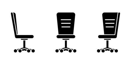 Isolated business office chair vector illustration icon pictogram set. Front, side view silhouette on white