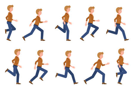 Young, adult man wearing jeans running sequence poses vector illustration. Fast moving forward, hurry, rush male person cartoon character set on white Illusztráció