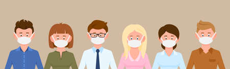Cartoon character man and woman wearing medical masks protecting disease, flu vector illustration set. Group of male and female people preventing corona virus infection background