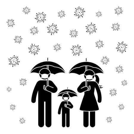 Coronavirus stick figure man, woman, children, kid icon sign symbol vector illustration pictogram. Stickman family wearing mask under umbrella to avoid virus infection silhouette set on white