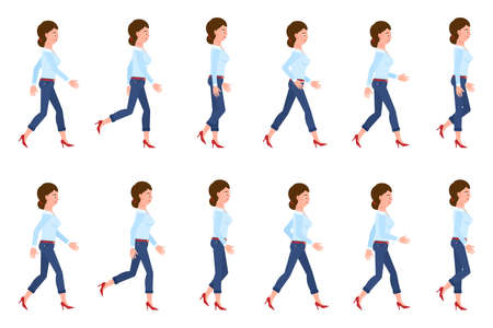Young, adult woman in jeans walking sequence poses vector illustration. Moving forward, fast, slow going person cartoon character set on white Illusztráció