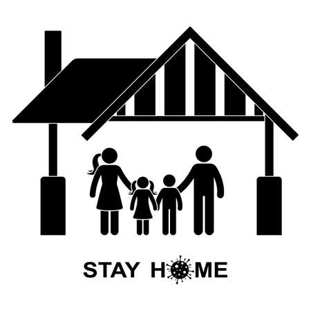 Stick figure family stay home vector icon illustration pictogram. Quarantine, self-isolation global pandemic prevention man, woman, children silhouette on white