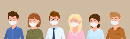 Cartoon character side view portrait man and woman wearing medical masks protecting disease, flu vector illustration set. Group of male and female people preventing corona virus infection