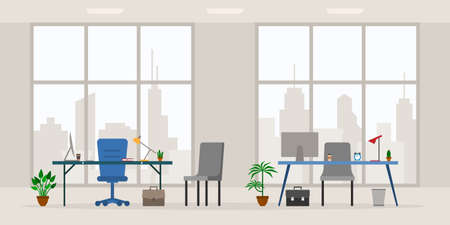 Design of modern empty office work place front view vector illustration. Cartoon table, desk, chair, computer, building, desktop, lamp, big window isolated on cityscape background