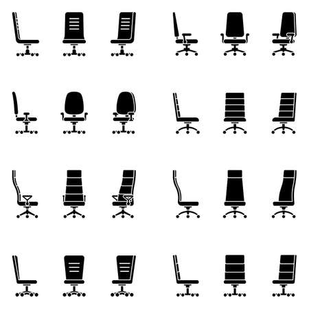 Isolated modern spinning rolling office chair vector illustration icon pictogram set. Front, side view silhouette on white
