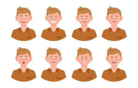 Emotional face cartoon character blonde office man front view vector illustration set. Happy, smiling, upset, surprised, sad, angry, shouting person flat style concept Ilustração