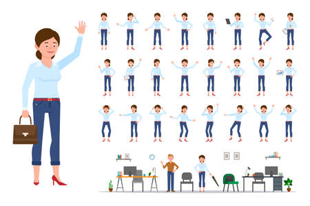 Adult office cartoon character woman in casual clothes waving hand up flat style design vector illustration set. Female person wearing jeans, body poses, face emotions, desk, chair office interior infographic kit Illusztráció
