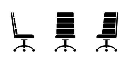 Isolated spinning office chair vector illustration icon pictogram set. Front, side view silhouette on white