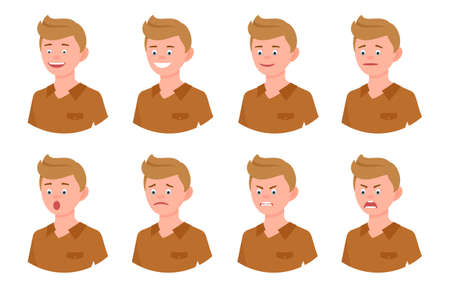 Emotional face cartoon character young blonde office man side view design vector illustration set. Happy, smiling, upset, surprised, sad, angry, shouting person flat style concept Illustration
