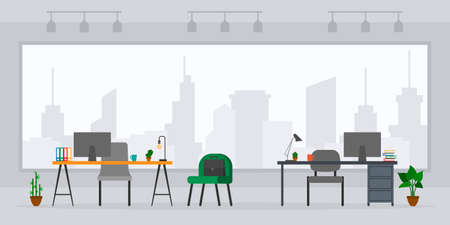 Design of empty office work place front view vector illustration. Flat style table, desk, chair, computer, building, desktop, big window isolated on cityscape background