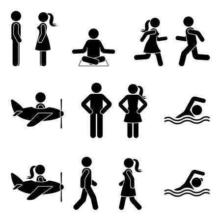 Young active stick figure man and woman couple flying, swimming, standing, walking, running, sitting, meditating vector illustration pictogram icon set on white background Illusztráció